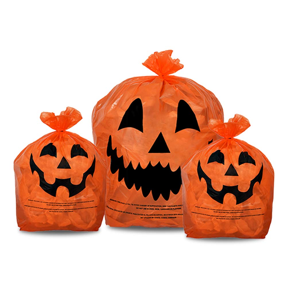 KINREX Halloween Pumpkin Plastic Lawn and Leaf Bags Decoration - Outdoor Fall Trash Bag Decor - Orange Jack O Lantern - Pack of 3 with Twist Ties