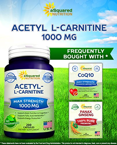 Pure Acetyl L-Carnitine 1000mg Max Strength - 200 Capsules - High Potency Acetyl L Carnitine HCL (ALCAR) Supplement Pills to Support Energy, Brain Function & Fatty Acid Metabolism by aSquared Nutrition (Image #3)