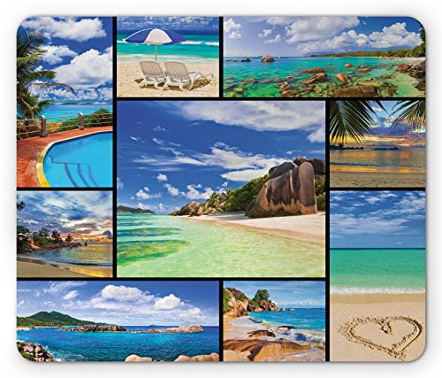Price comparison product image Lunarable Tropical Mouse Pad, Collage of Tropic Summer Sandy Beach Tranquil Peaceful Serene Relaxing Images, Standard Size Rectangle Non-Slip Rubber Mousepad, Cream Blue