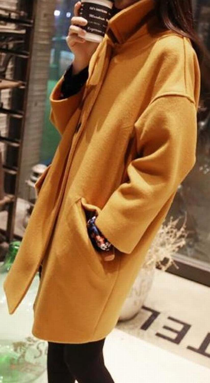 NQ Womens Autumn Lapel Thickening Button Wool Coat