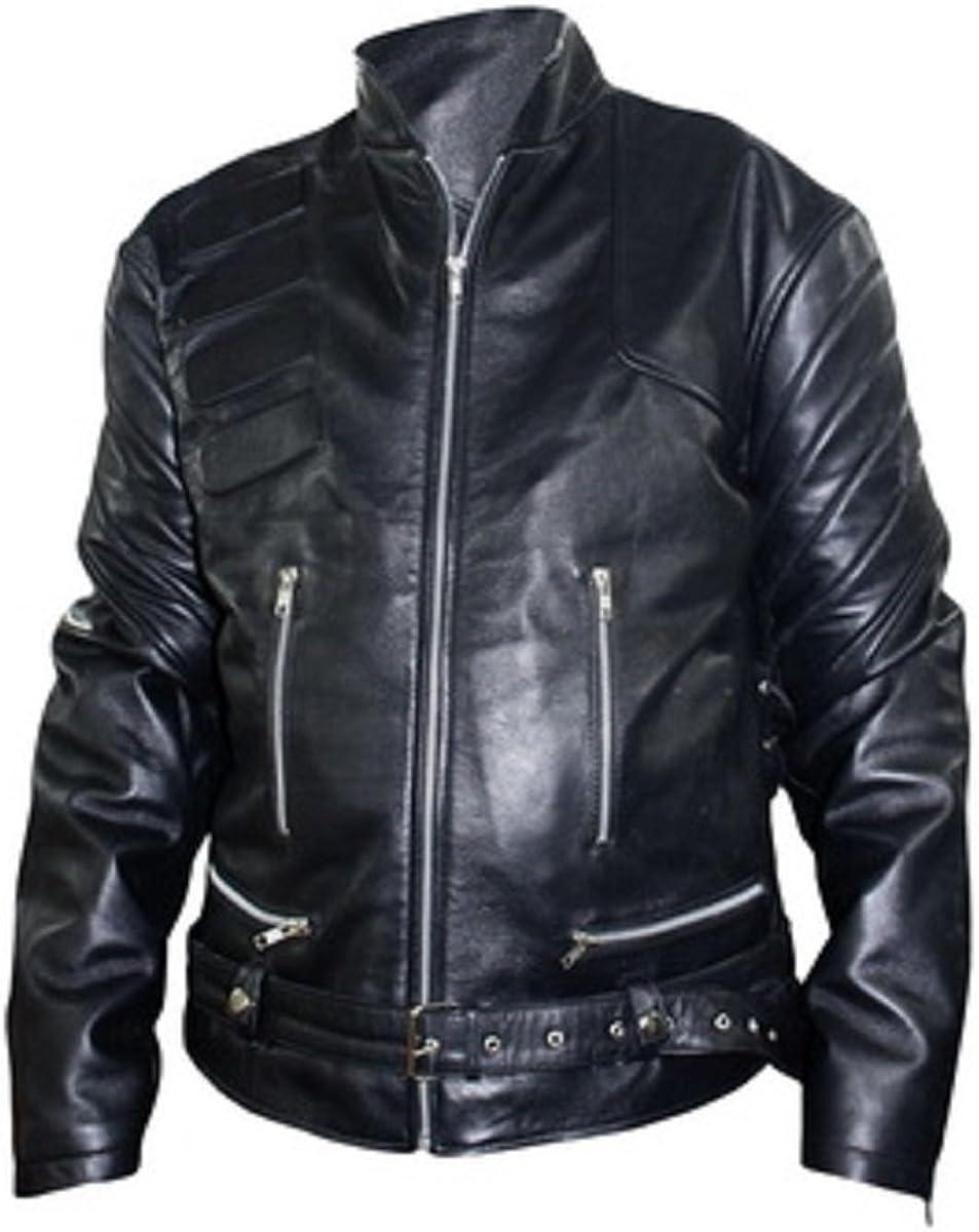 Bestzo Mens Fashion Motorcycle Real Leather Jacket Black