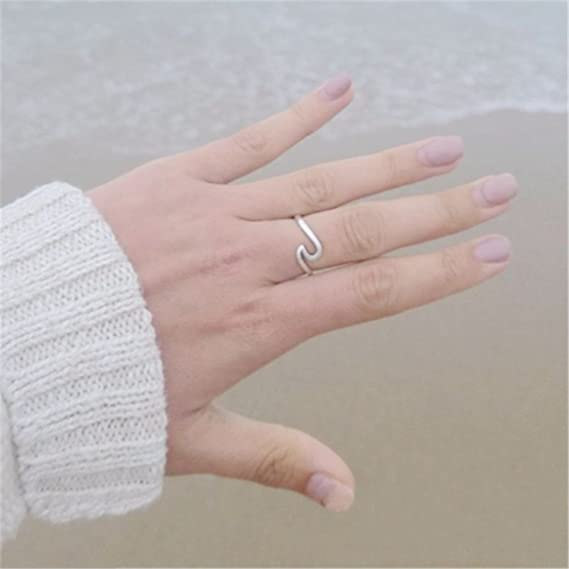 Amazon.com: JEWH Fashion Women Ring - Simple Metal Wave Rings - Mix Colors Beach Lovers Ring - Simple Lovely Jewelry for Girls - Beach Style (Silver Gold) ...