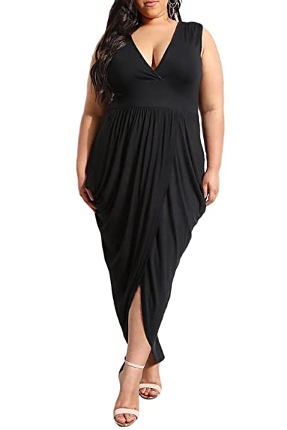 JooMeryer Women\'s Plus Size Deep V Neck Bodycon Long Maxi Dress with Front  Slit