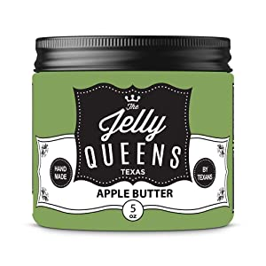 The Jelly Queens All-Natural Organic Fruit Jelly – 6 oz Premium Handmade Jams and Jellies – Safe Glass Jars – Sustainably Grown Fruits – Ideal for Pastries, Desserts, Presents | Apple Butter