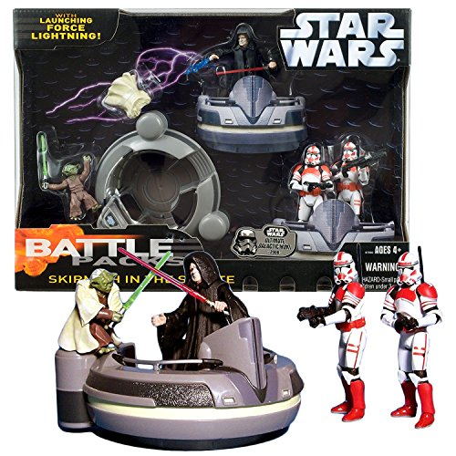 Star Wars Year 2006 Revenge of the Sith Battle Packs Series 4 Inch Tall Figure Set - SKIRMISH IN THE SENATE with Yoda, Emperor Palpatine and 2 Shock Troopers Plus Senate Pod -