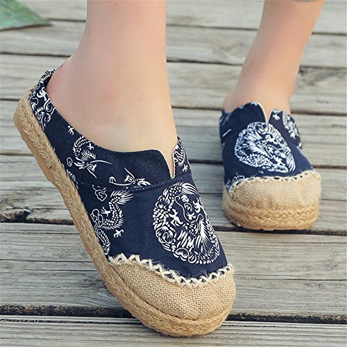 Espadrilles Bottom Lino Oxford Donna da A Pantofole HUAN Canvas Shoes Loafers Flat 0XwR8