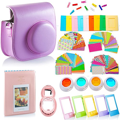 DNO Fujifilm Instax Mini 9/8 Camera Accessories (11 Piece Kit) – Includes Protective Case/ Hanging Frames/ Filters/ Selfie Len/ Photo Album/ Stickers and More – Portable&Perfect Gift