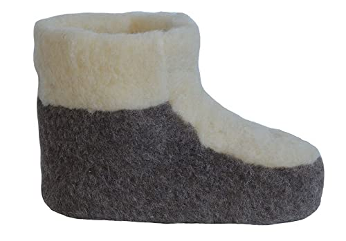 5e8ac995f40ad8 SamWo, Schafwoll-Wohlfühl-Hausschuh/Pantoffeln Fußwärmer Unisex, weiche  Rutschfeste Sohle,100% Schafwolle wollweiß/braun, Größe: 37-46