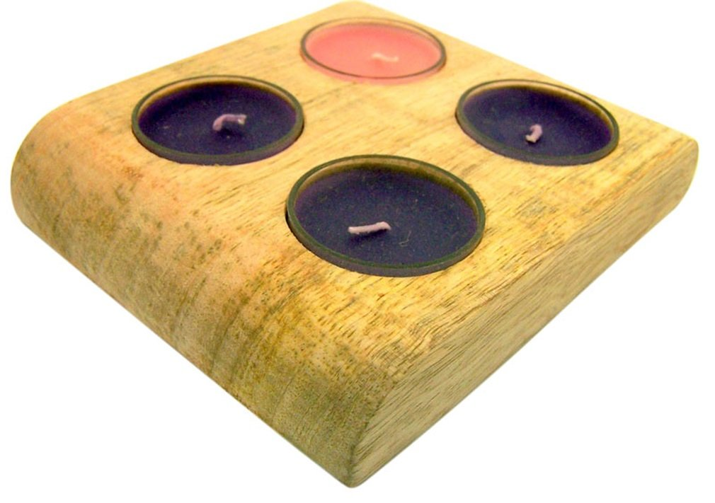 Come Lord Jesus Advent Season Celebration Pink Rose Purple Tealight Candles in Mango Wood Display