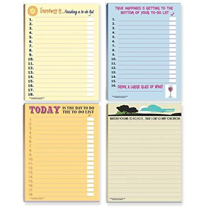amazon com funny to do lists note pad assorted pack 4 funny todo