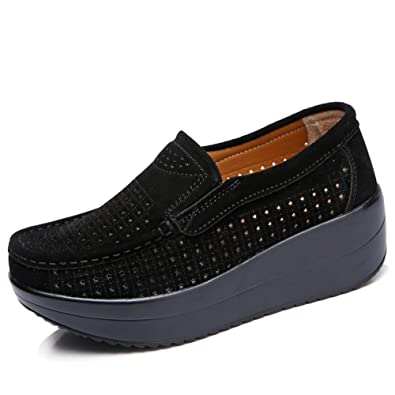HKR-GF3213-1heise35 Women Hollow Out Slip On Platform Wedge Shoes Suede  Loafers Moccasins a37b4560bf0