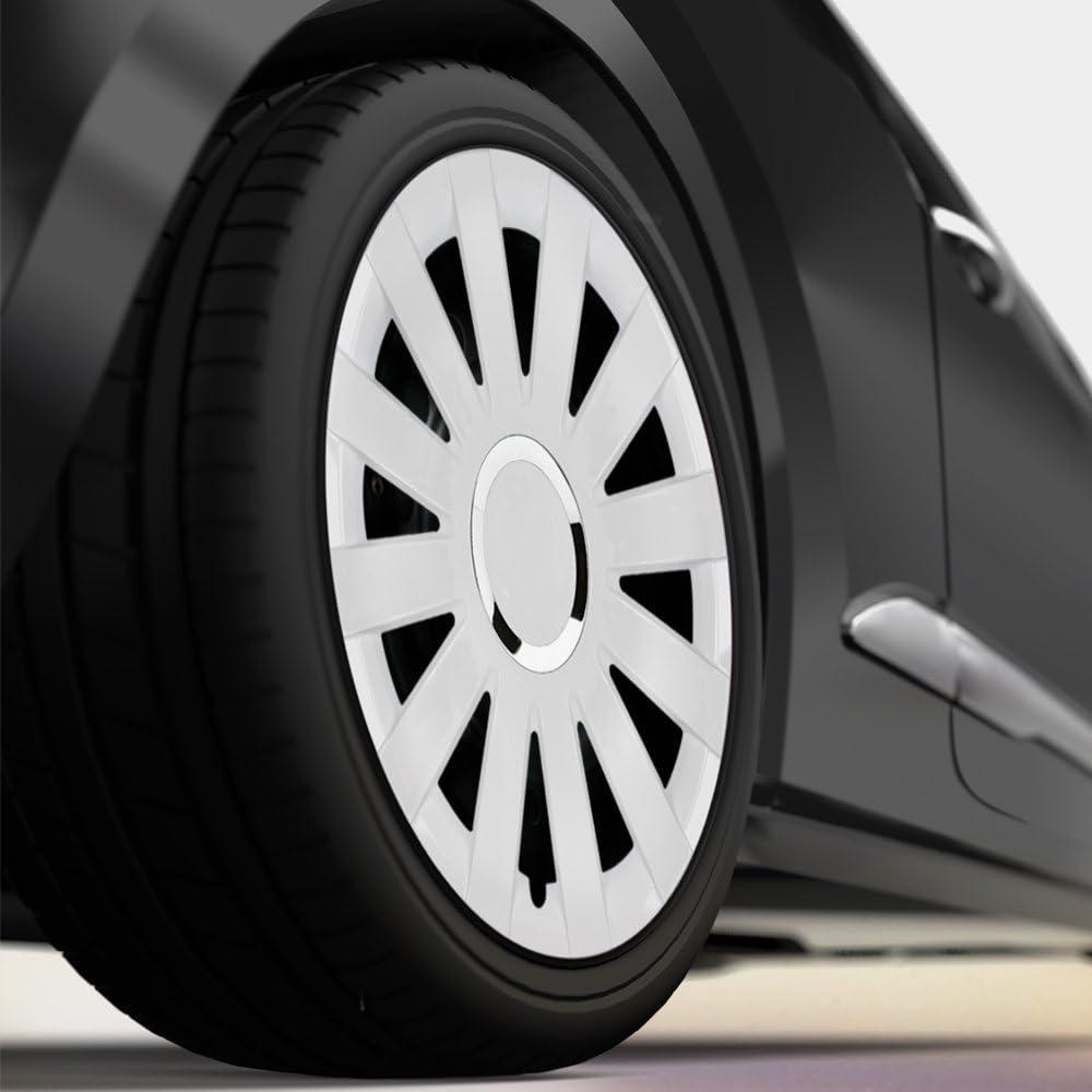 KA 1 RBT Weiss mit Chromring Radkappen passend f/ür Fast alle Ford wie z.B CM DESIGN 14 Zoll Radzierblenden Onyx