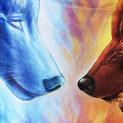 Fire and Ice by JoJoesArt Wolf Blanket for Kids Boys Hooded Blanket Blue and Orange Animal Sherpa Blanket 50x 60