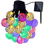 GDEALER Solar String Lights 20ft 30 LED Crystal Ball Waterproof Outdoor String Lights Solar Powered Globe Fairy String Lights for Outside Garden, Yard, Home, Landscape, Party