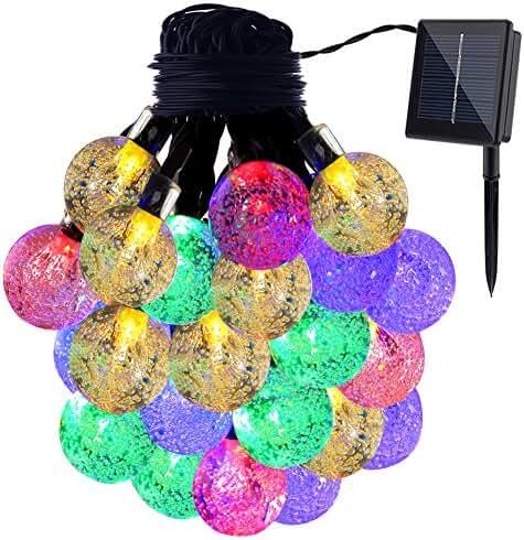 GDEALER Solar String Lights 20ft 30 LED Crystal Ball Waterproof Outdoor String Lights Solar Powered Globe Fairy String Lights for Outside Garden, Yard, Home, Landscape, Party