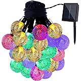 GDEALER Solar String Lights 20ft 30 LED Crystal Ball Waterproof Outdoor String Lights Solar Powered Globe Fairy...
