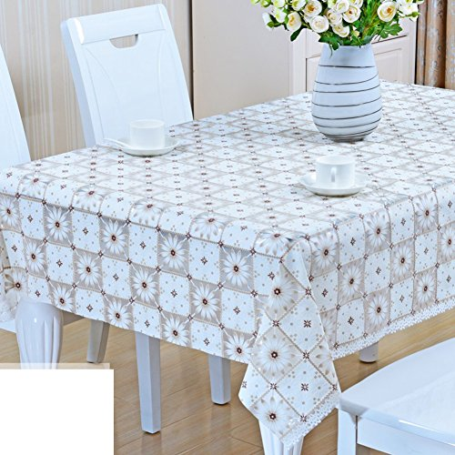 Tablecloth Fabrics Dining desk mats Hot pad Pvc waterproof [modern] Simple Thicken [printing] Rectangle Household use European style-R (Elastic Styler)