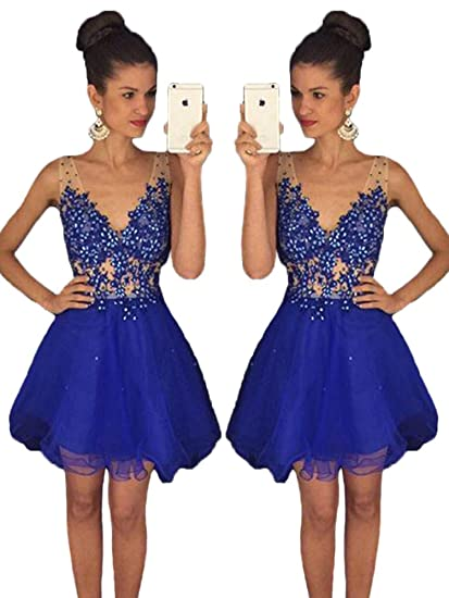 Baijinbai Royal Blue Homecoming Dresses Sexy V Neck Beaded Crystal short Prom Dress Blue UK06