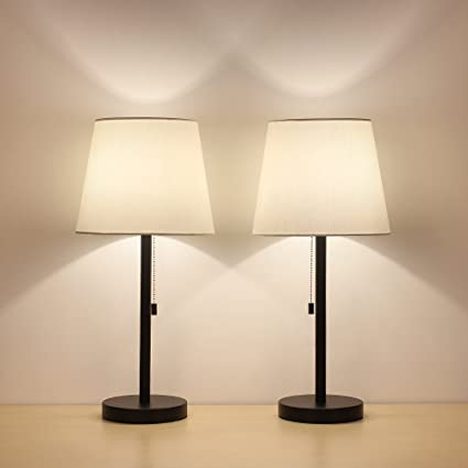 Haitral Table Lamp Set Of 2 Modern Desk Lamps Black Night Lamps For Bedroom Living Room Office