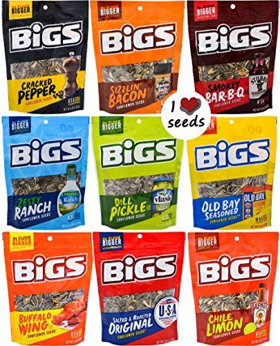 Bigs Sunflower Seed Flavor Variety Pack 9 bags (5.35oz each) with Bonus Magnet (Bacon Salt Sunflower Seeds)