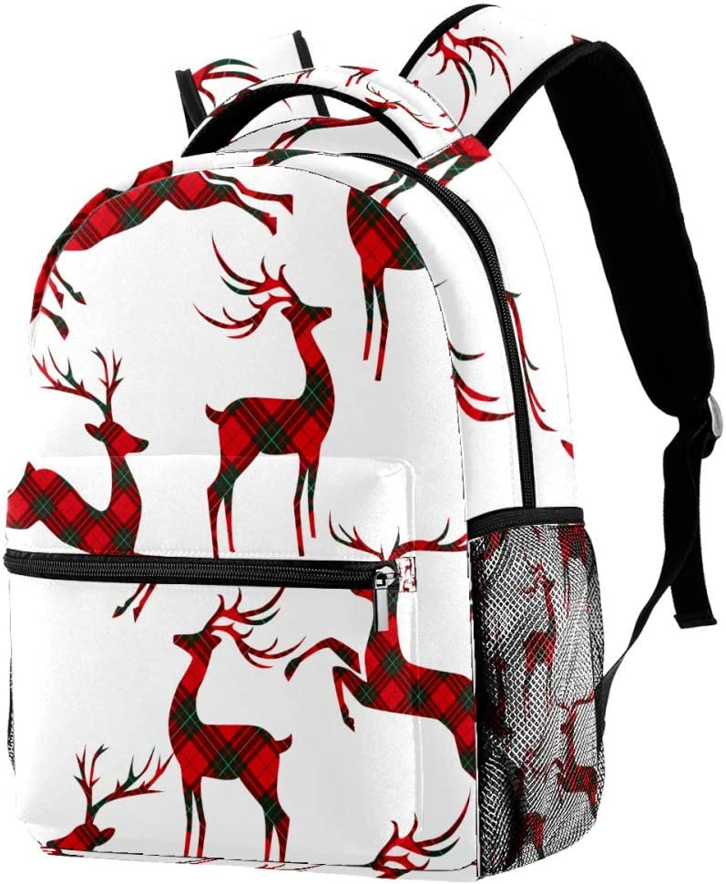 Casual Durable Backpack Daypacks for Men Women for Work Office College Students Business Travel Schoolbag Bookbag Christmas Pattern with Deer On Tartan Travel Laptop Backpack