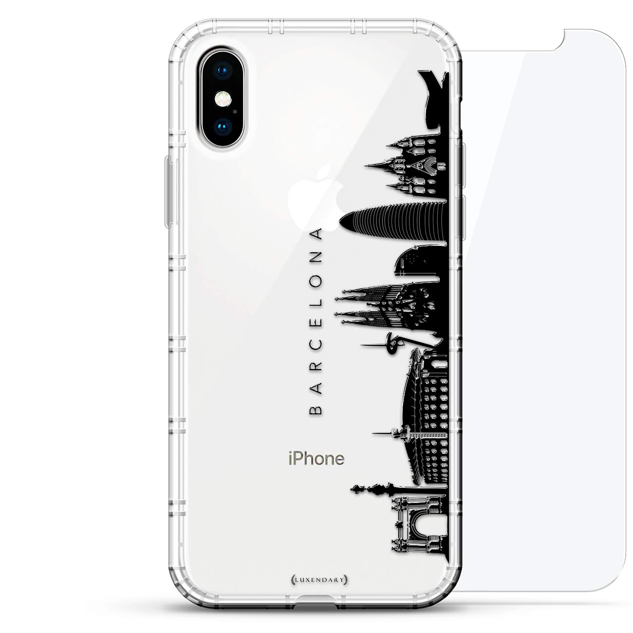 Landmarks: Barcelona Black & White Skyline | Luxendary Air Series 360 Bundle: Clear case with 3D-Printed Design & Air Cushions + Tempered Glass for ...