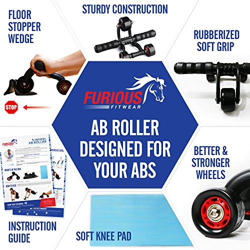 3 Wheel Ab Roller Machine with Knee Mat for Speed Abs Training - Perfect Abdominal Toning Trainer Equipment for Core Fitness Workout Exercises
