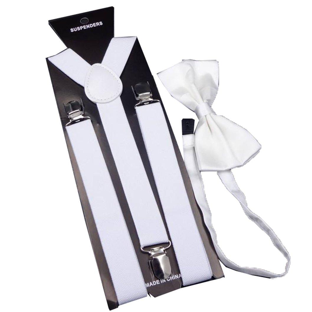 MENDENG Men's White Tuxedo Suspender Bow Tie Set Elastic Adjustable Suspenders ENG1773
