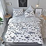 BuLuTu Ocean Shark Print Kids Duvet Cover Twin White,100% Cotton Premium Reversible Hotel 3 Pieces Toddler Bedding Sets For Boys Girls,Zipper Closure With Ties,NO COMFORTER