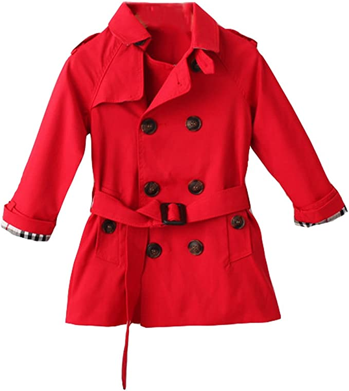 FREE FISHER Kids Quilted Wind Trench Coat Double Breasted for Boys Girls