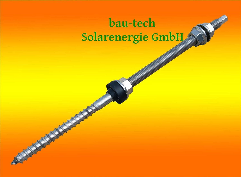 10 Stü ck Stockschraube Edelstahl A2, M12 x 300 mit Sechskant - Kopf Antrieb von bau-tech Solarenergie GmbH