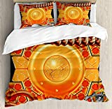 Steampunk Twin Duvet Cover Sets 4 Piece Bedding Set Bedspread with 2 Pillow Sham, Flat Sheet for Adult/Kids/Teens, Steampunk Retro Mechanism Antique Engine Gear Ancient Technology Vibrant Colors