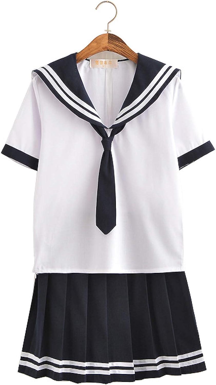 Elonglin Women Girl Sailor Suit Japanese Anime Cosplay Costume Cute Students Uniform Set Performance Clothing