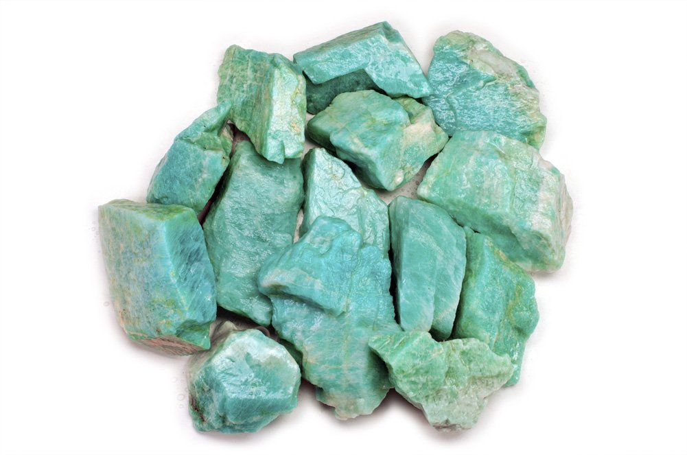 Hypnotic Gems Materials: 1 lb Bulk Rough Amazonite Stones from Madagascar - Raw Natural Crystals for Cabbing, Cutting, Lapidary, Tumbling, Polishing, Wire Wrapping, Wicca and Reiki Crystal Healing