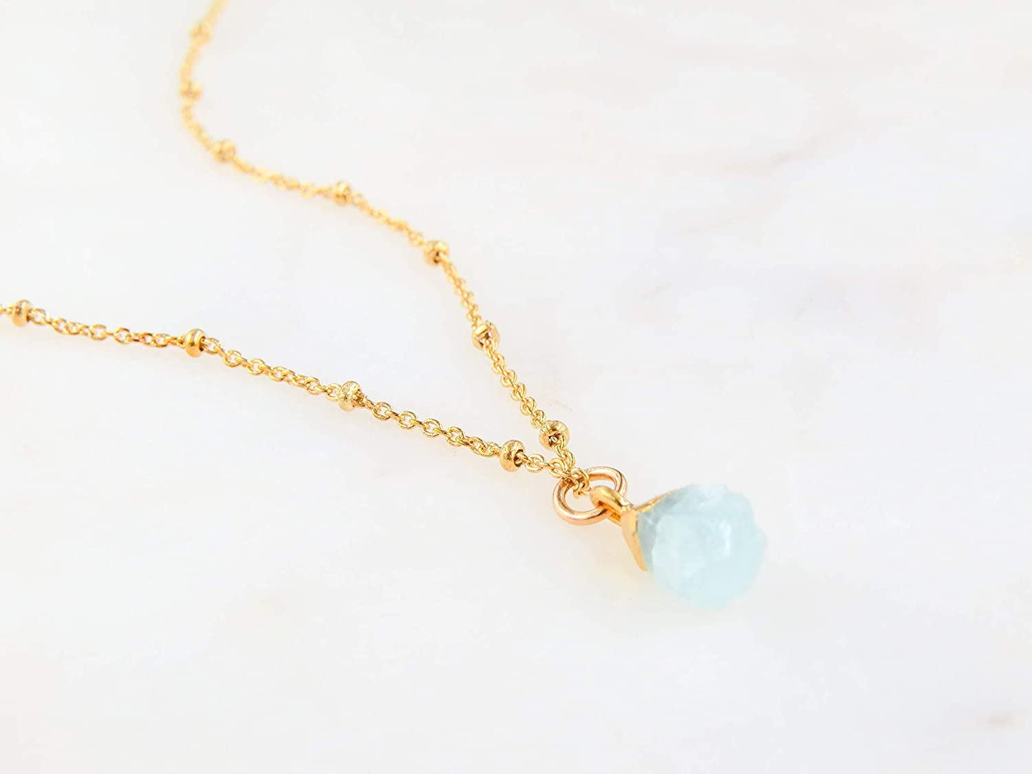 March Birthstone Necklace Gold Plated 18 Raw Aquamarine Necklace Birthday Necklace for Mom