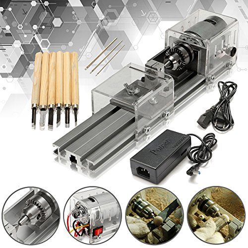 LB-01 Mini Lathe Beads Machine Woodworking DIY Lathe Polishing Drill Rotary Tool DC 24V (Burnisher Dc)