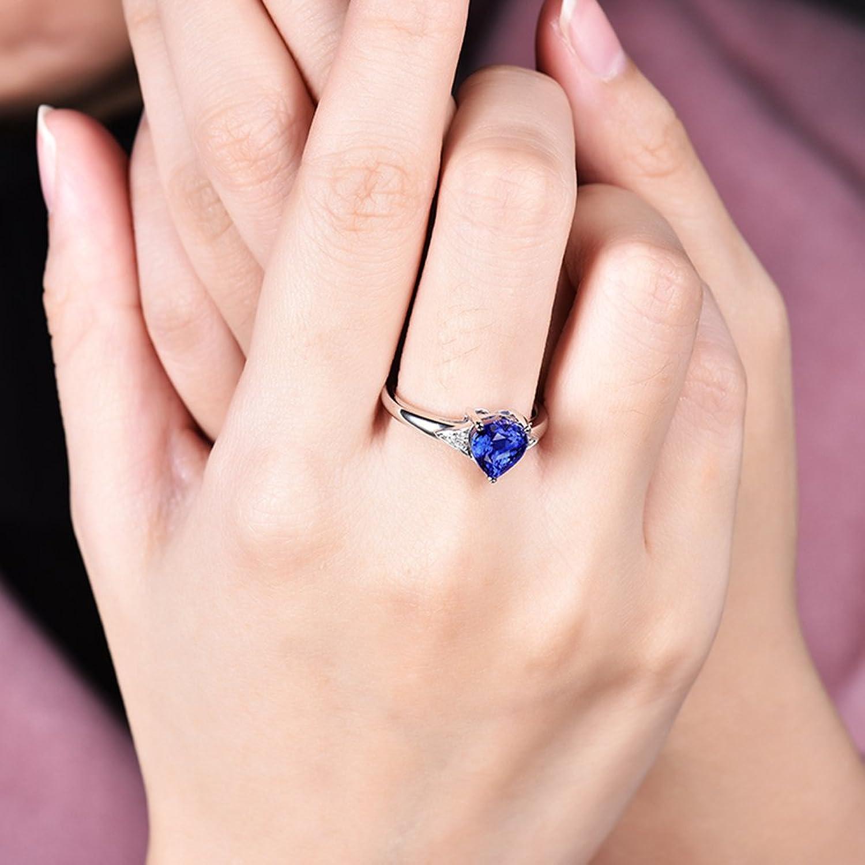 Amazon.com: New Design 14kt White Gold Diamonds Engagement Heart ...