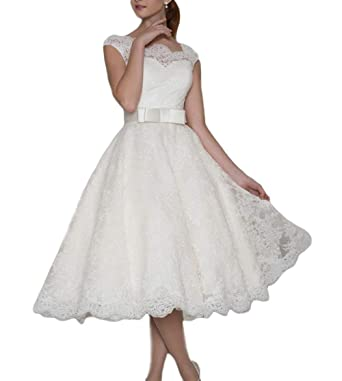 Lace Vintage Wedding Dress.Dreagel Women S Vintage Wedding Dresses Short Tea Length Lace Bridal