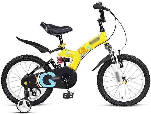 NZ-Childrens bicycles Bicicletas para niños 14 Pulgadas 16 Pulgadas Rojo Amarillo Naranja Seguro y Estable Bicicleta Que Absorbe los Golpes (Color: Amarillo, Tamaño: 14 Pulgadas): Amazon.es: Hogar