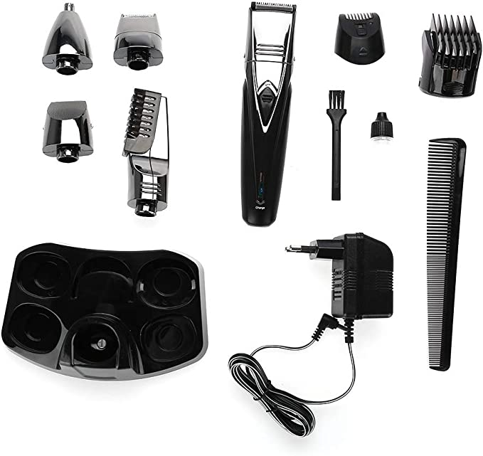 Kit de barba para hombre, 5 en 1 Recortadora de cabello recargable ...