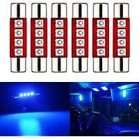 EverBright LED Mirror Fuse Sun Visor 6641 White 4014 9-SMD 12V Festoon Dome Light LED Bulbs(Pack of 10) 28MM 4SMD Blue