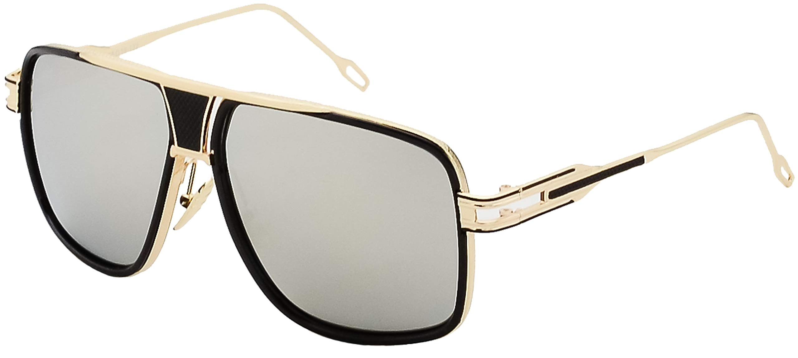 Square Sunglasses Gold and Black Frame Gold Nose Pads with Silver Mirror Lens by Stylle