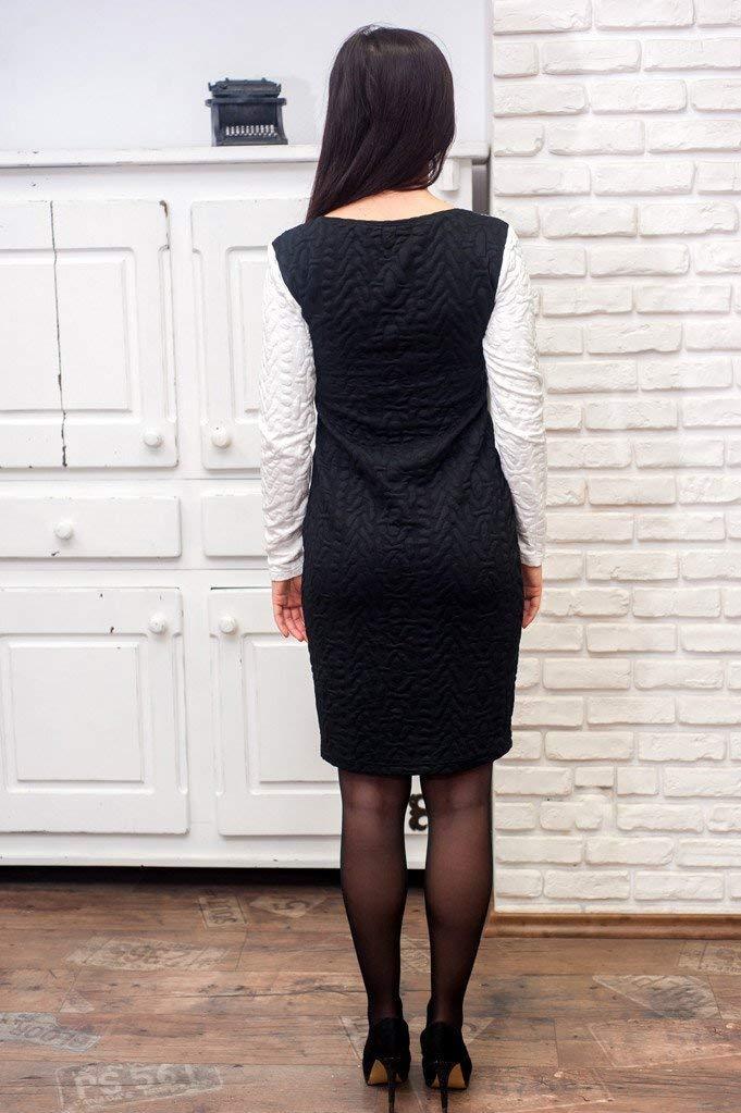 d34afa3cdfa58 Damen elegantes schwarz-weißes knielanges Kleid