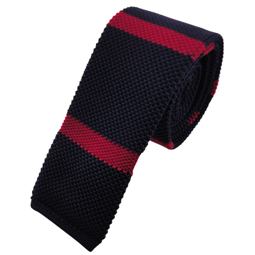 blu scuro rosso striato Cravatta a maglia stretta