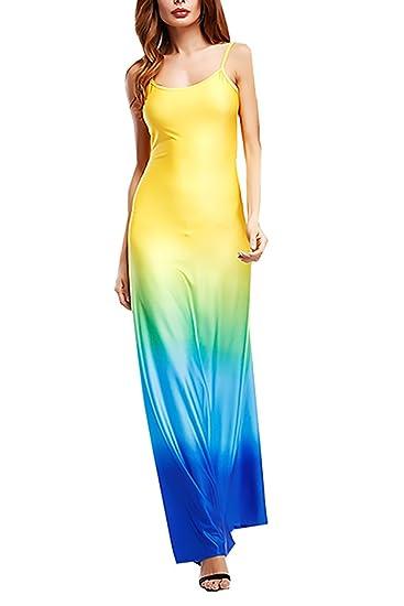 Vestidos Mujer Vestidos Largos De Verano Elegantes Color Degradado Sin Mangas Dresses Fiesta Disfraz Hombro Descubierto