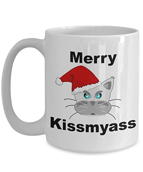Angry Cat Mug   Funny Quote   Merry Kissmyass   Christmas Coffee Cup For Cat  Lover