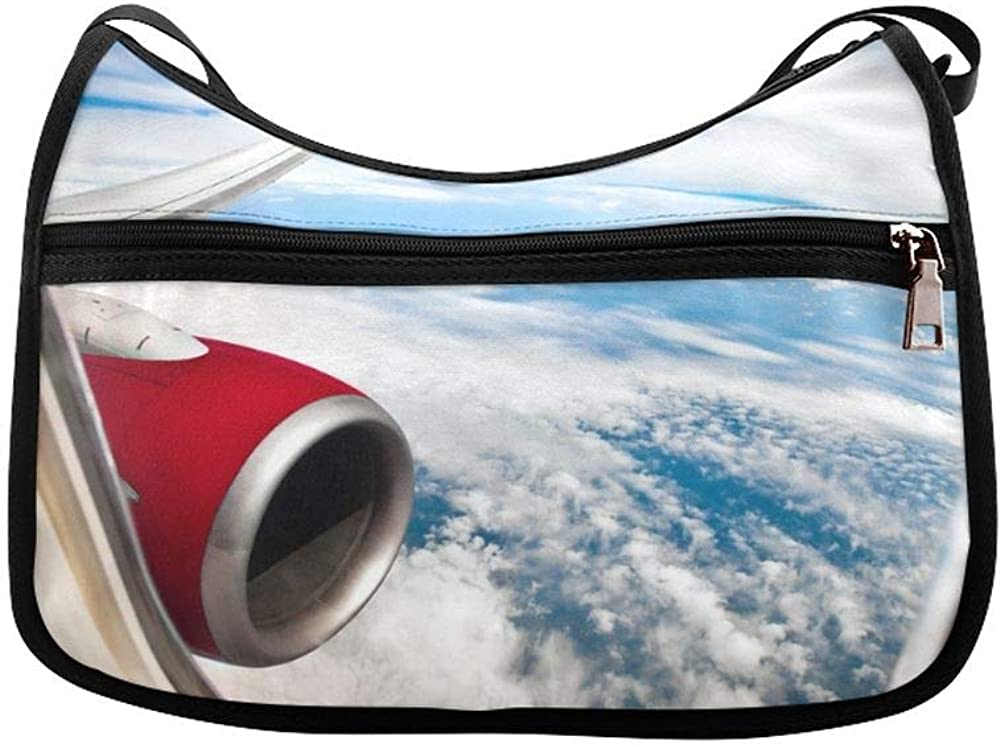 Passenger Aircraft Turbine Waiting To Leave Messenger Bag Crossbody Bag Large Durable Shoulder School Or Business Bag Oxford Fabric For Mens Womens