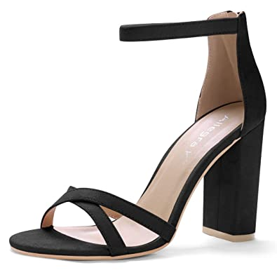 0feeceb00e836 Allegra K Women's Open Toe Cross Front Ankle Strap Block Heels (Size US 6)
