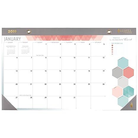 Amazon Com Inkwell Press Desk Pad Calendar January 2019