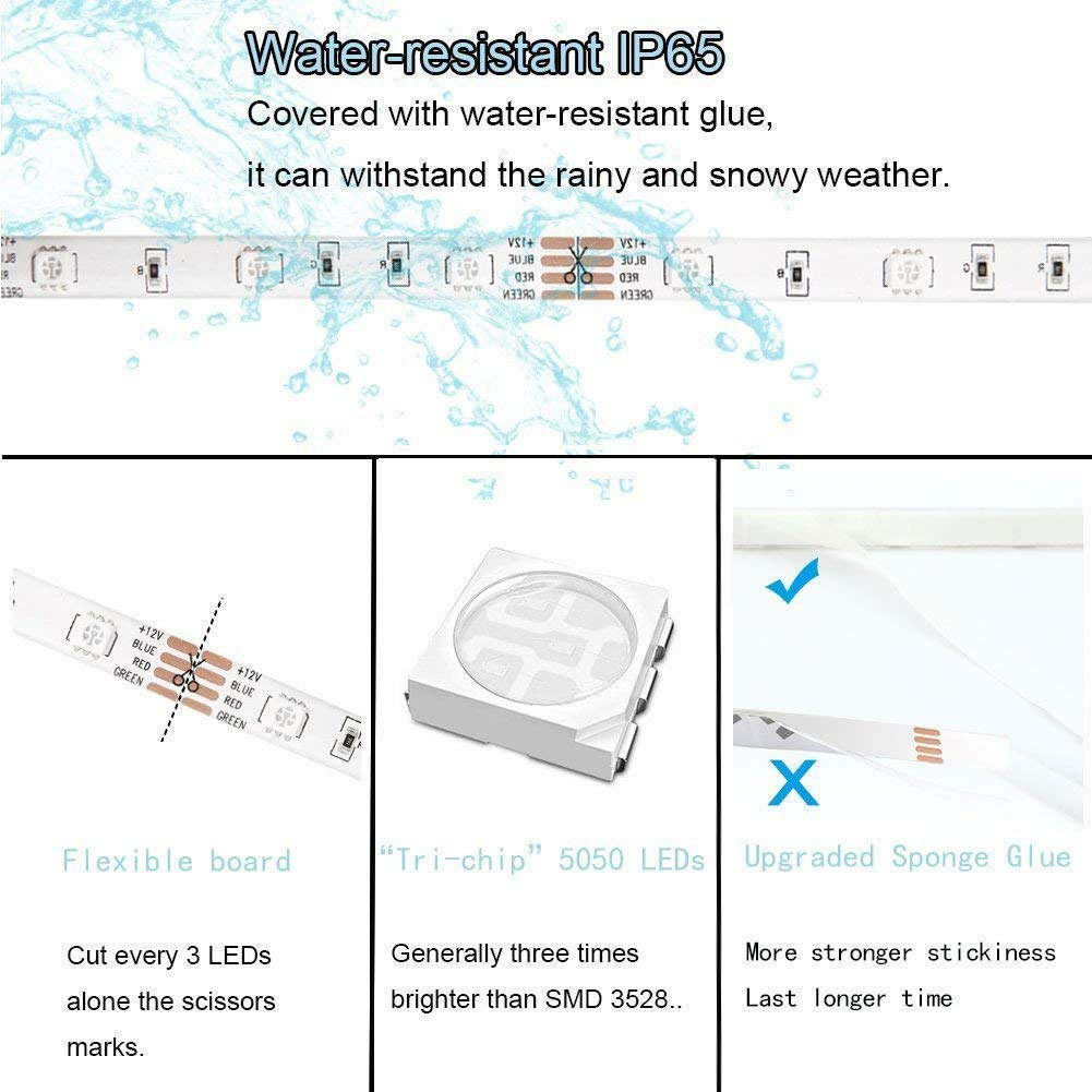 IP65 Waterproof Rope Lights Ribbon Lights Alexa Controlled LUNSY RGB LED Strip lights 32.8ft//10M Wifi Light Strip with Remote Wireless Smart Phone 300LED 5050